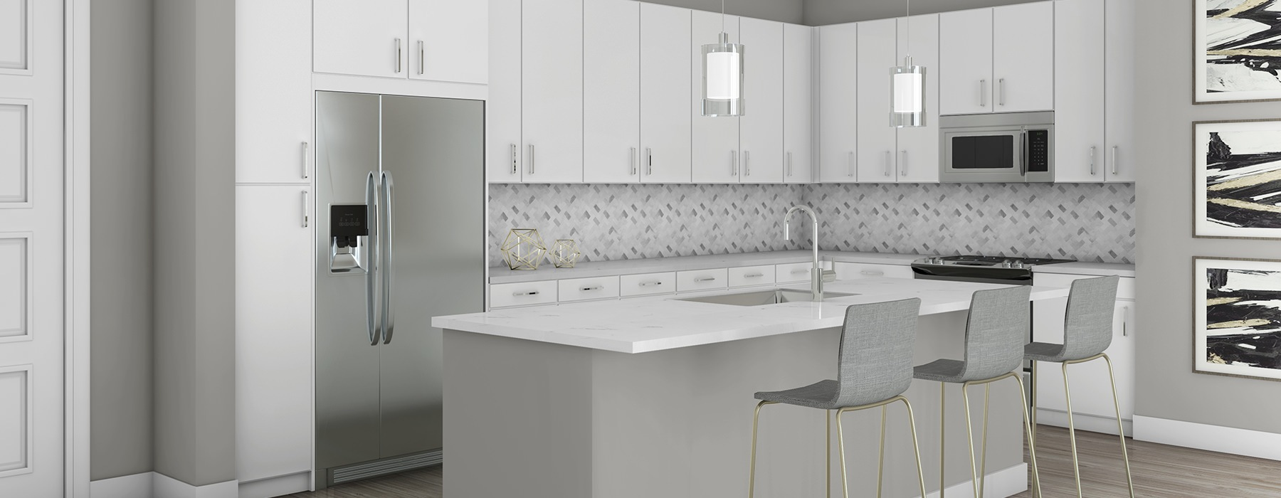 rendering of White Kitchen Scheme