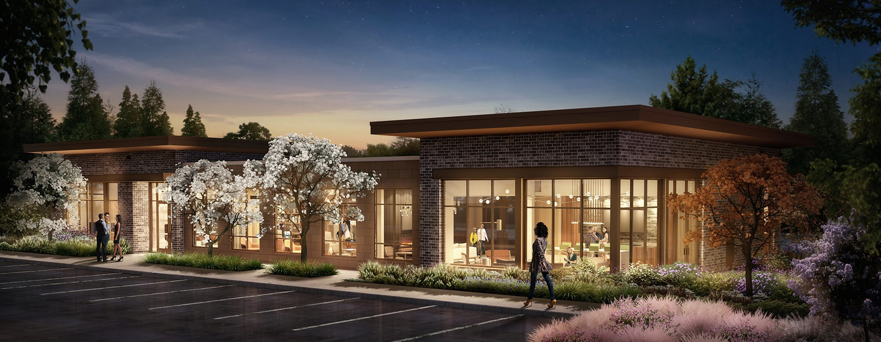 rendering of Leasing Center and Art Gallery
